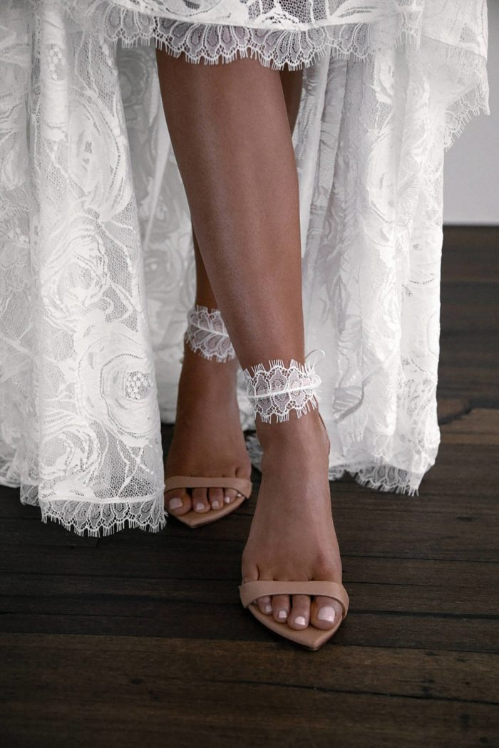 Bride wearing Grace Loves Lace Eyelash Anklets