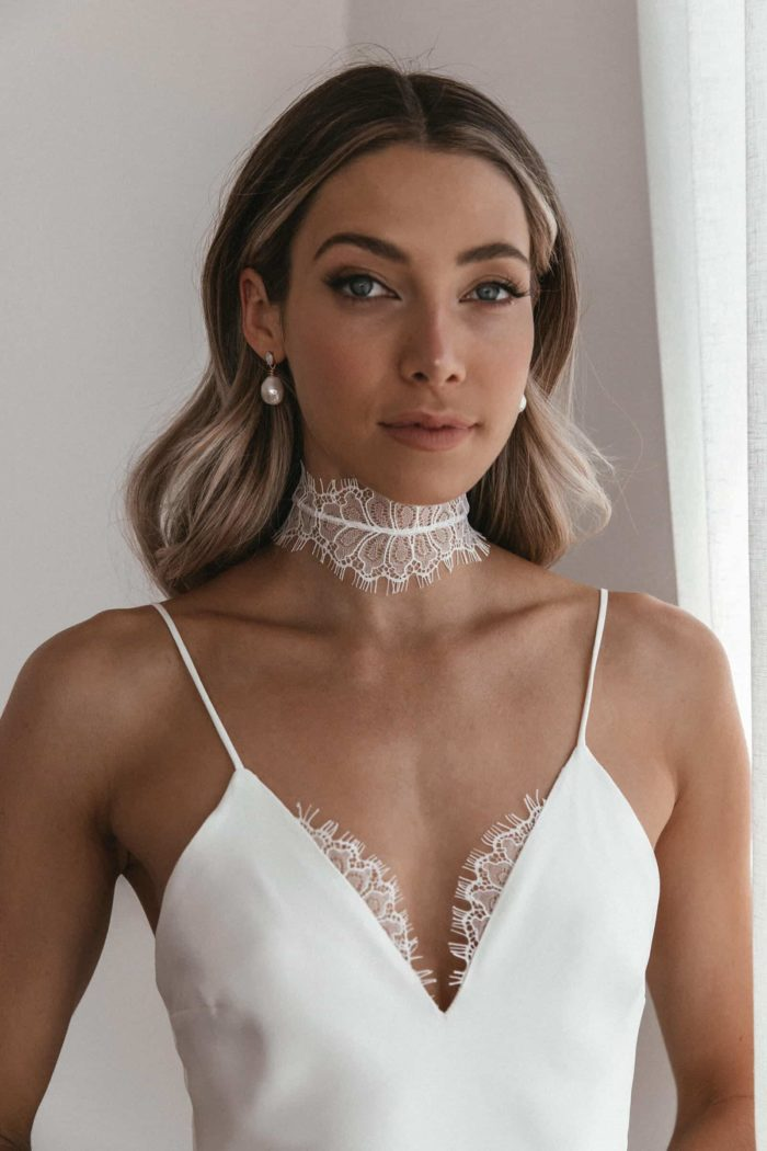 Bride wearing Grace Loves Lace Eyelash Choker