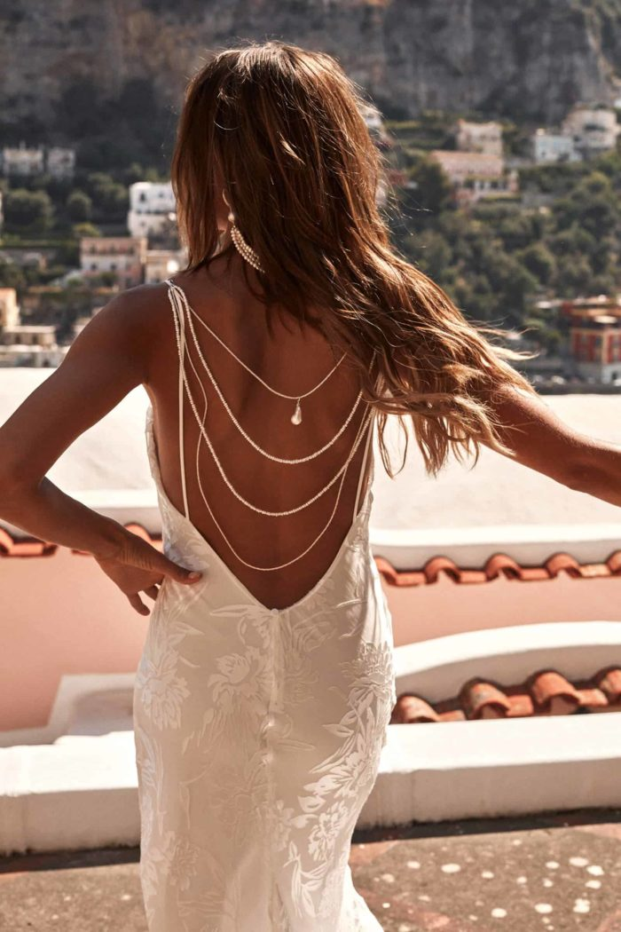 Back shot of bride wearing Grace Loves Lace Lucine Backpiece