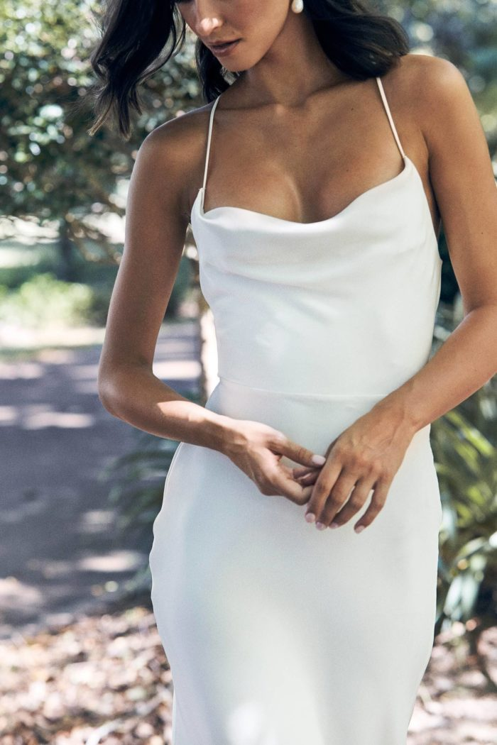Bride wearing Grace Loves Lace Honey Silk Gown