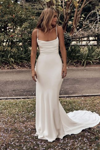 Bride wearing Grace Loves Lace Honey Silk Gown looking to the side