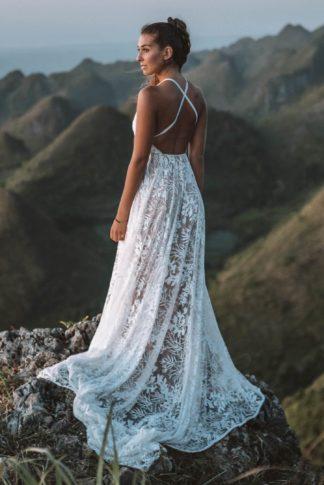 Back shot of bride wearing Grace Loves Lace Harri Gown