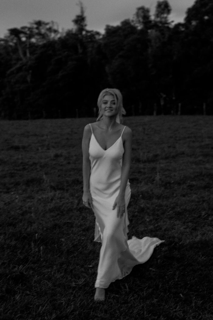 Black and white shot of bride wearing Grace Loves Lace Summer Gown