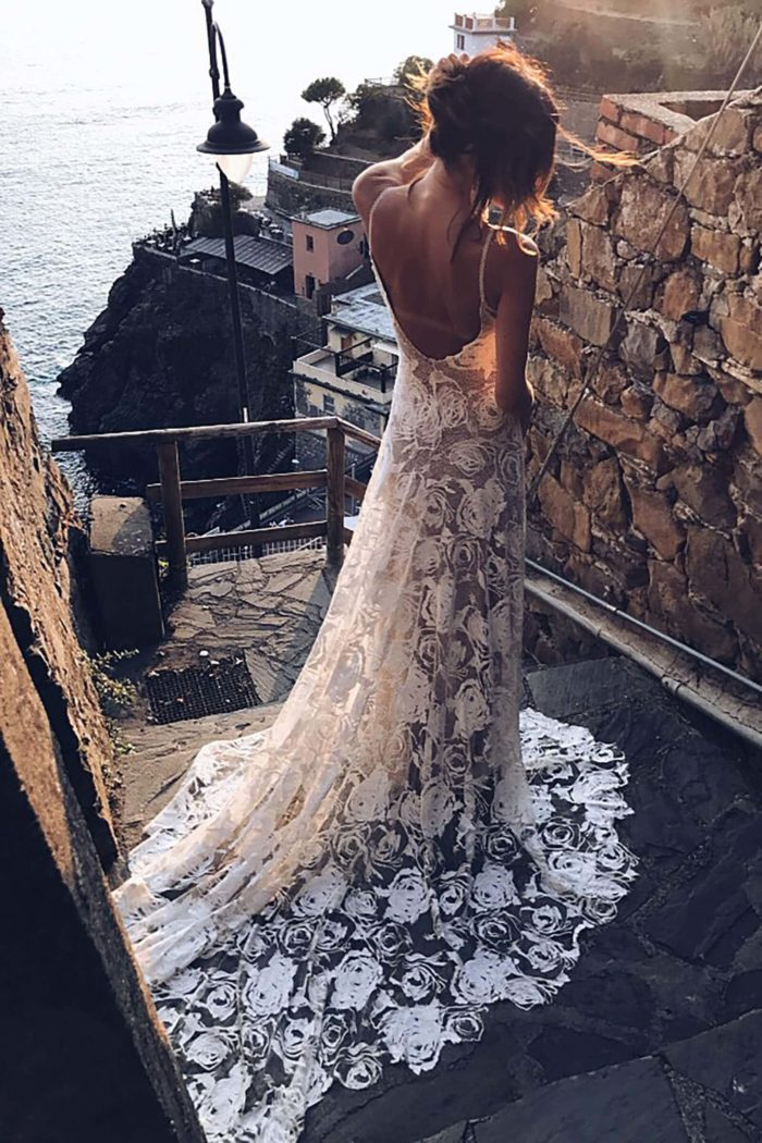Back shot of bride wearing Grace Loves Lace Rosa Gown