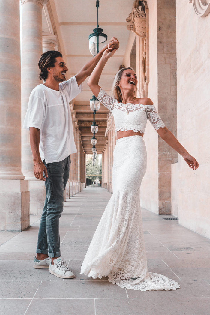 Blonde bride wearing Grace Loves Lace Everly Gown dancing with groom
