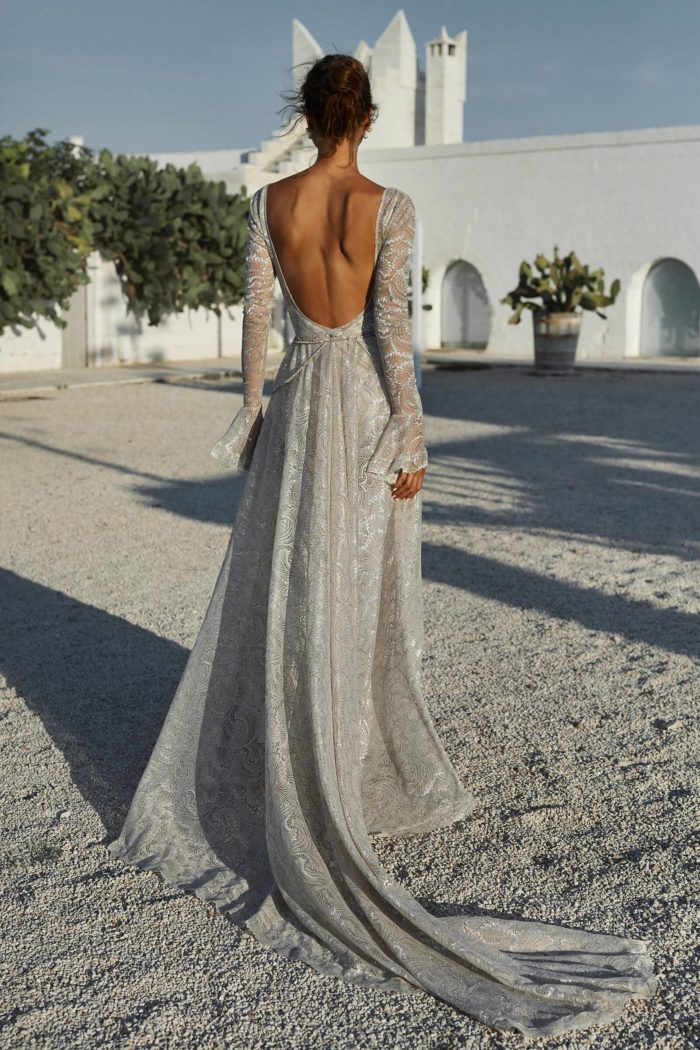 Back shot of bride wearing Grace Loves Lace Bea Gown