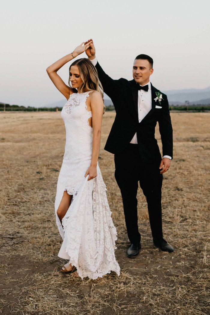 Bride wearing Grace Loves Lace Alexandra Gown dancing with groom