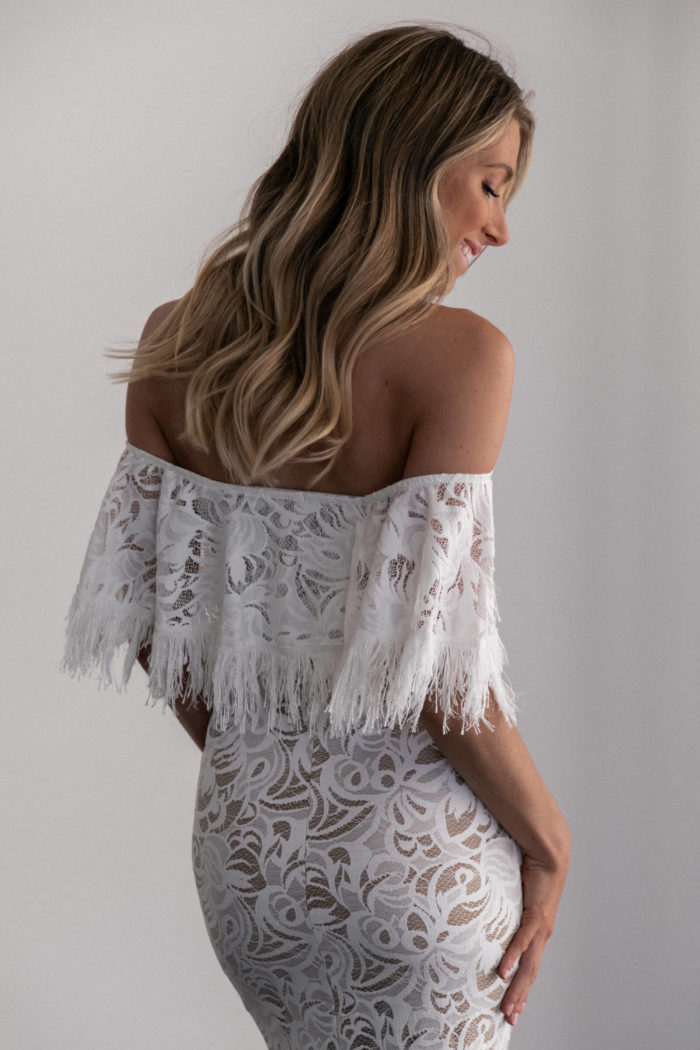 Back shot of bridesmaid wearing Grace Loves Lace Dominga Dress with Nude Lining
