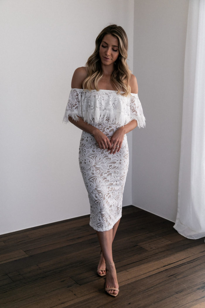 Bridesmaid wearing Grace Loves Lace Dominga Dress with Nude Lining with nude heels