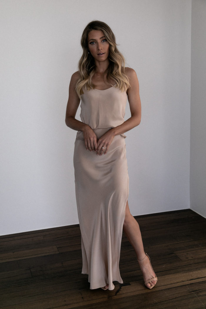 Bridesmaid wearing Grace Loves Lace Belle Silk Split Skirt in Sandstone