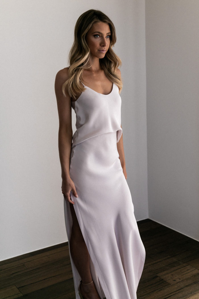 Bridesmaid wearing Grace Loves Lace Belle Long Silk Cami in Oyster