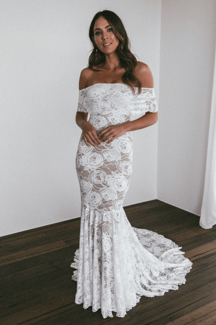 Brunette bride wearing Grace Loves Lace Peaches Gown