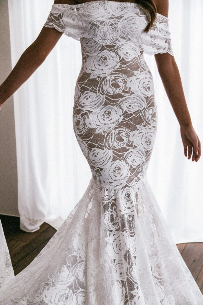 Bride wearing Grace Loves Lace Peaches Gown with nude lining