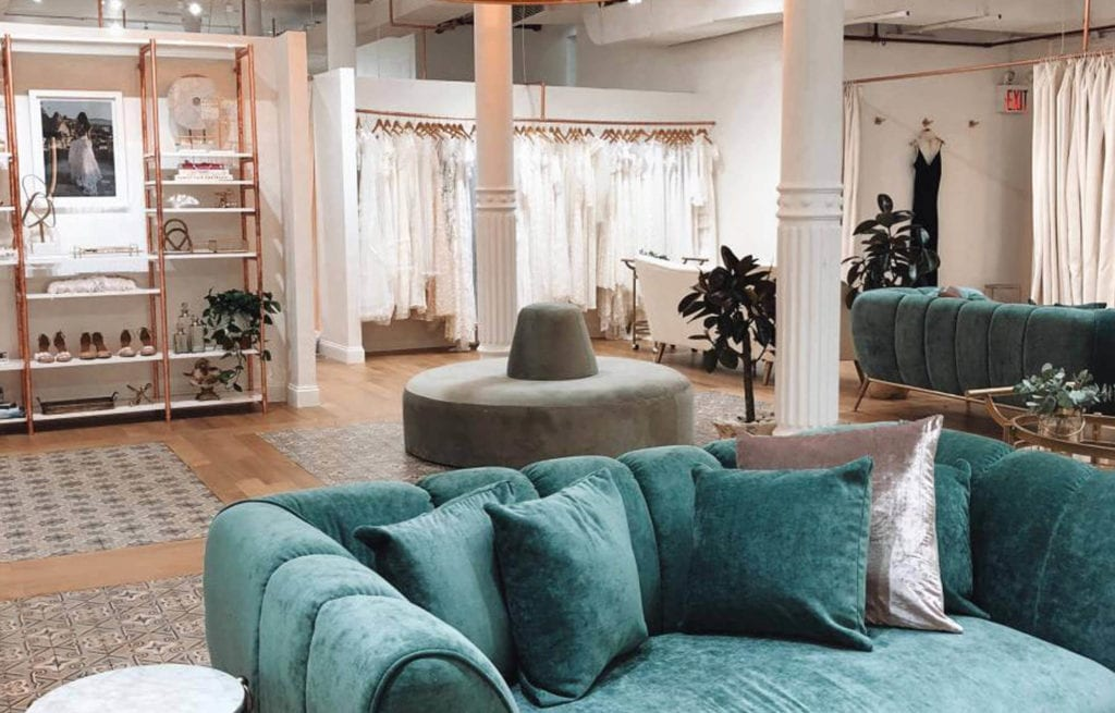 Sage Green Couch Inside the New York Showroom