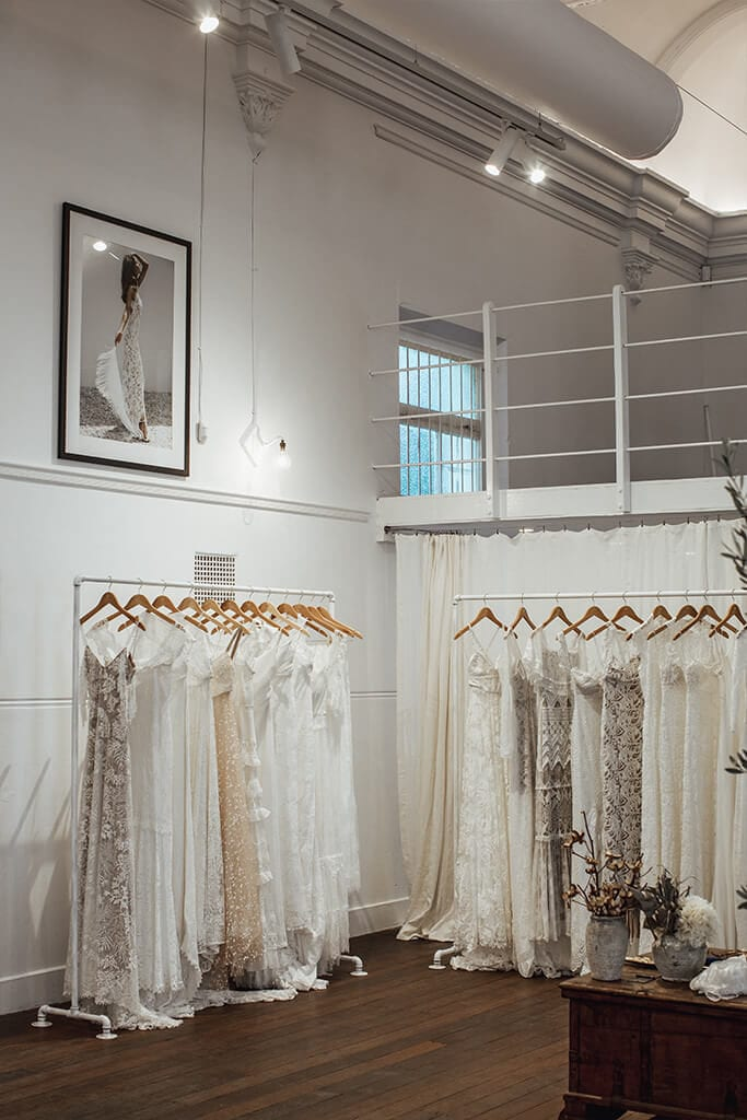 Two racks of bridal gowns in corner of our Perth Bridal Gown Showroom