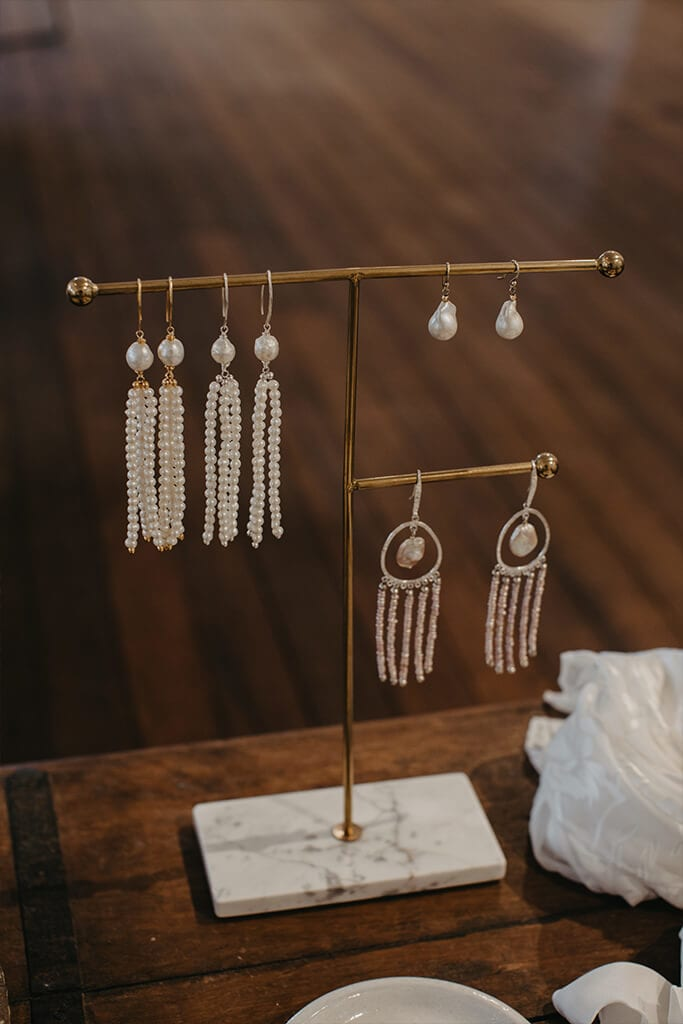 Bridal earring accessories hanging on display stand in our Perth Bridal Gown Showroom