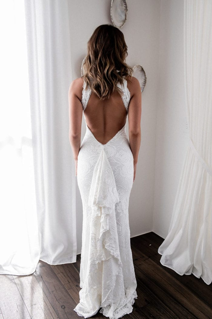 Back shot of bride wearing Grace Loves Lace Alexandra Rose Gown