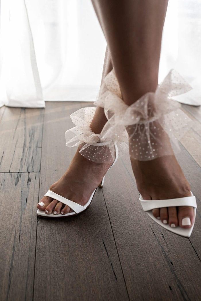 Bride wearing Grace Loves Lace Shimmy Anklets