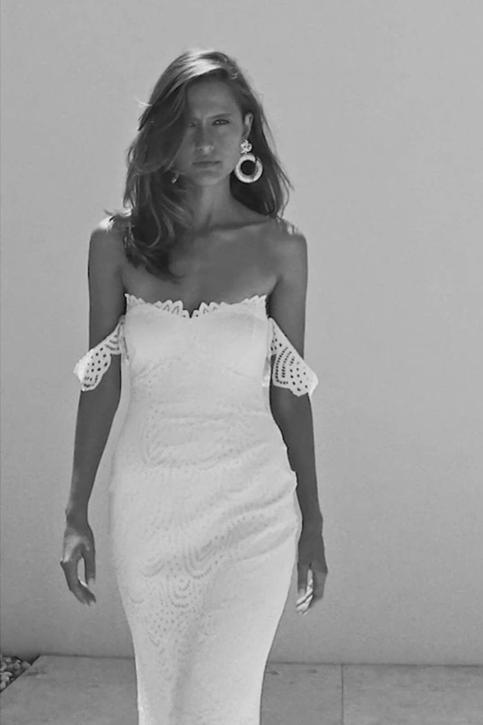Black and white shot of bride wearing Grace Loves Lace Paloma Gown