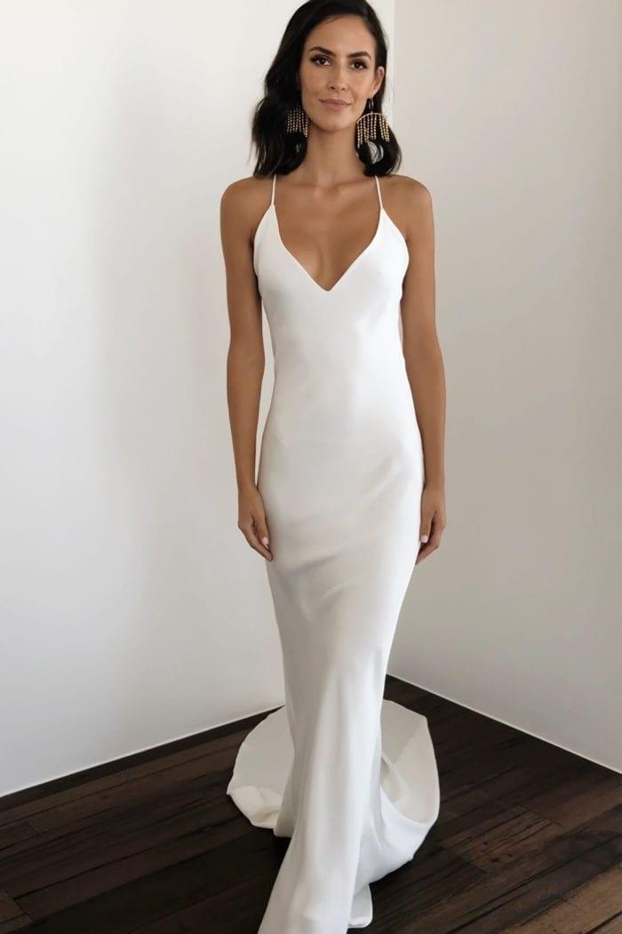 Brunette bride wearing Grace Loves Lace Dove Gown