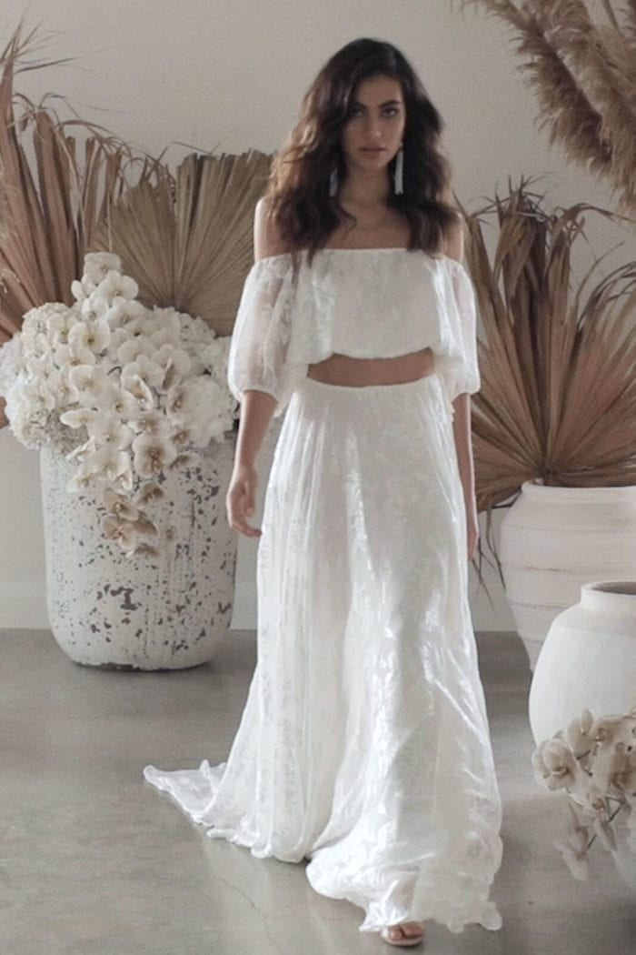 Brunette bride wearing Grace Loves Lace Loyola Set