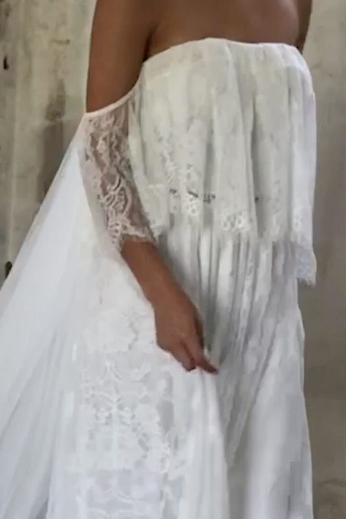 Close-up of bride wearing Grace Loves Lace Florence Gown in Ivory