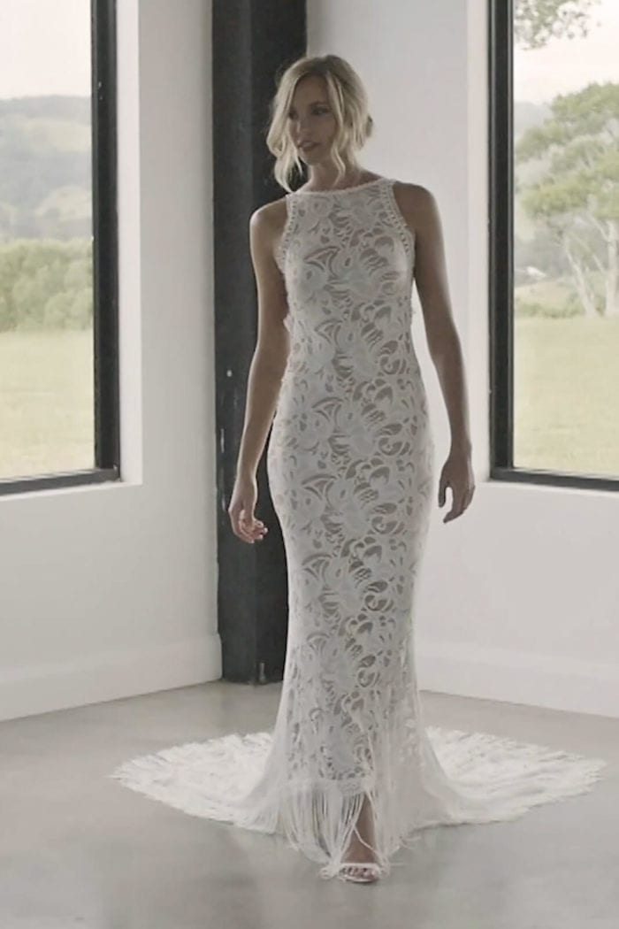 Blonde bride wearing Grace Loves Lace Edie Gown looking to the side