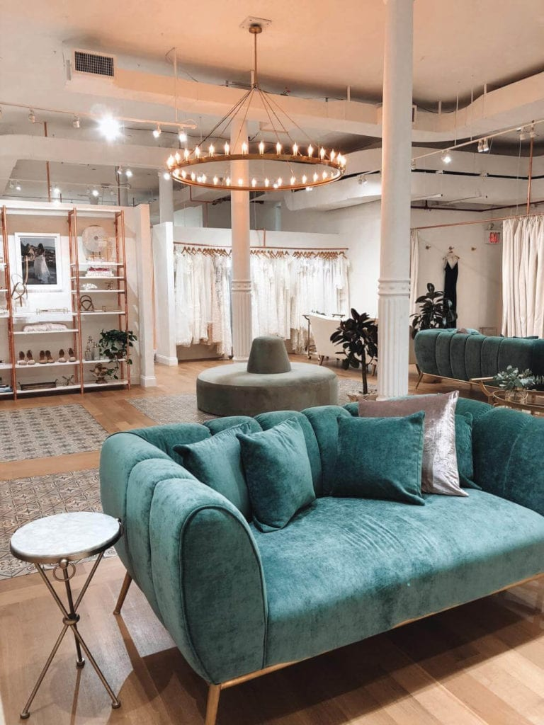 Our exclusive New York wedding gown showroom with velvet lounges