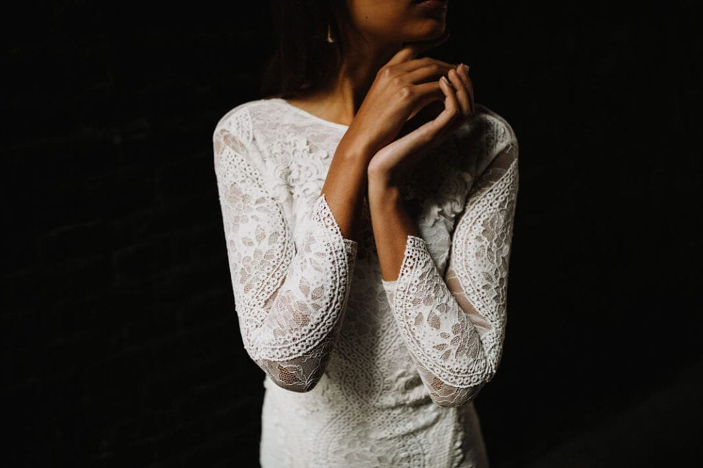 Lace wedding dress with dark background