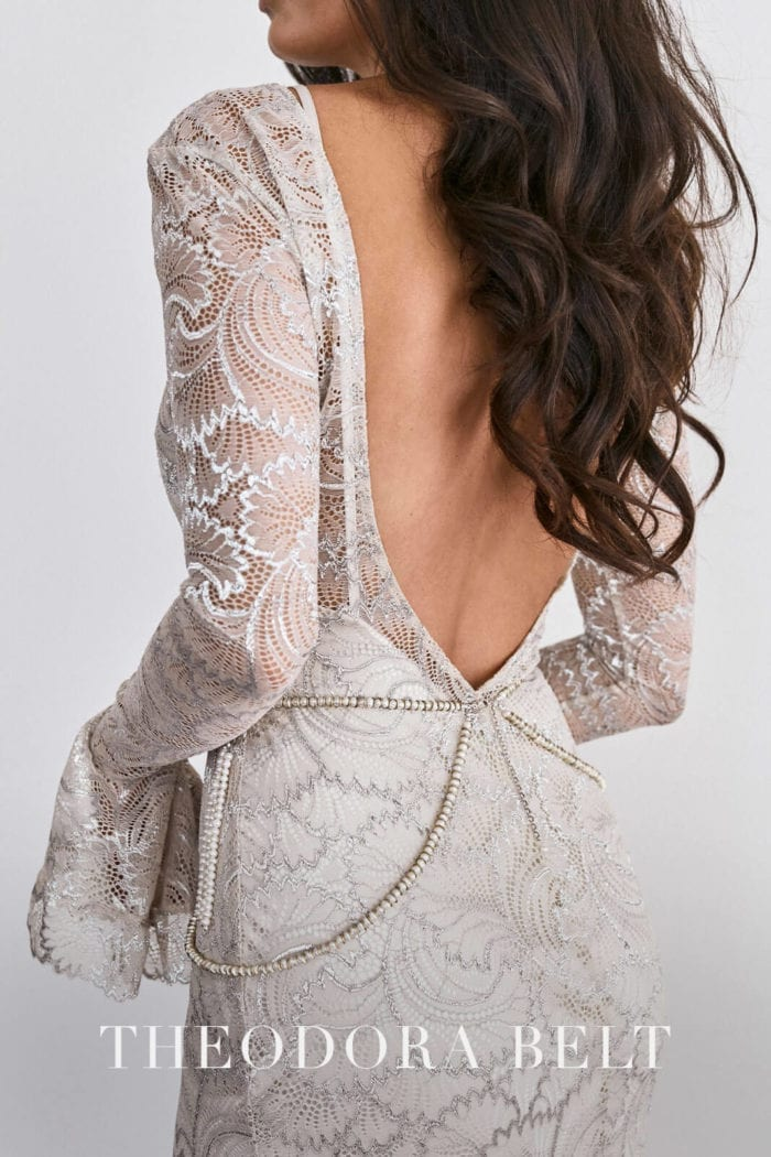 Back shot of bride wearing Grace Loves Lace Farrow Gown and belt