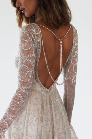Back shot of bride wearing Grace Loves Lace Mata Backpiece