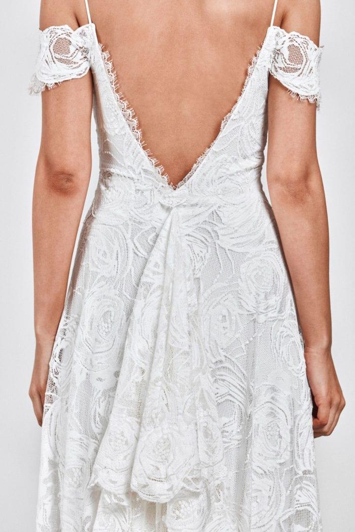 Close-up back shot of bride wearing Grace Loves Lace Bonita Gown