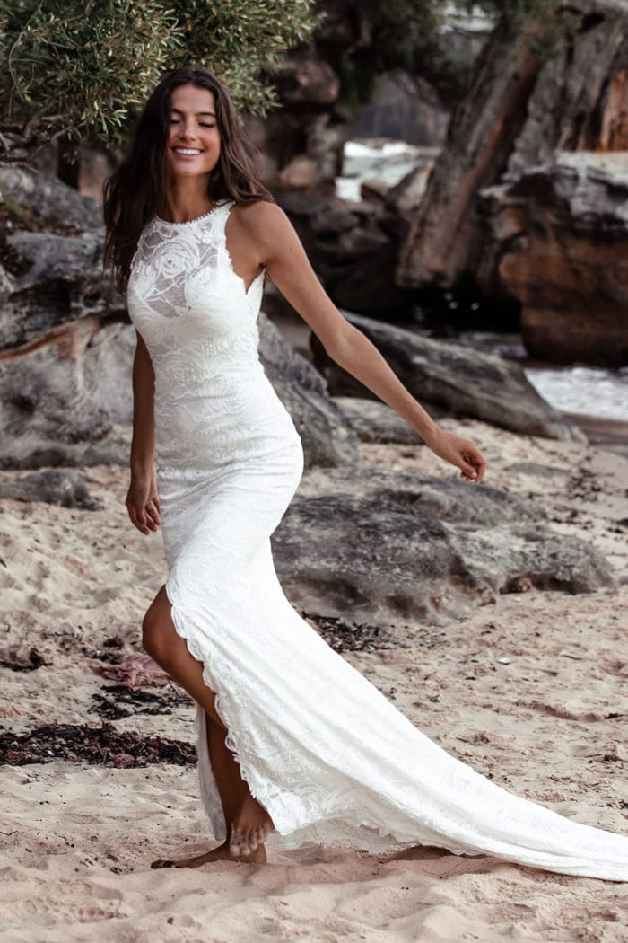 Bride wearing Grace Loves Lace Alexandra Rose Gown on beach