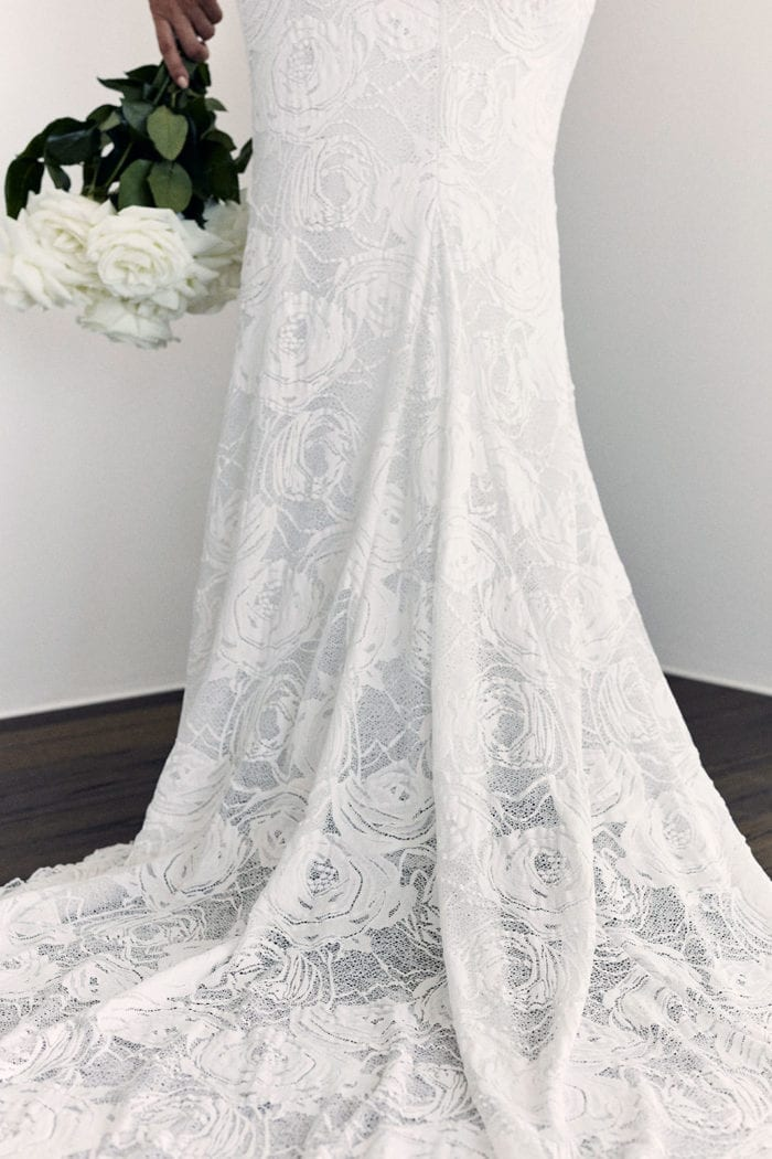 Close-up of Grace Loves Lace Alexandra Rose Gown skirt