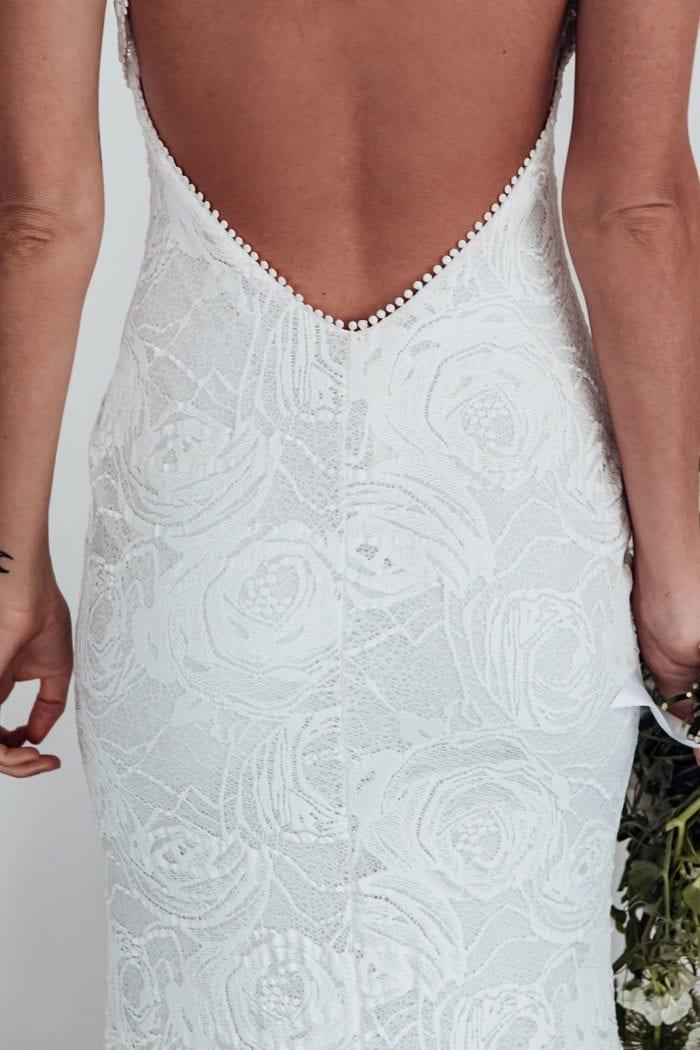 Close-up of Grace Loves Lace Alexandra Rose Gown bubble trim