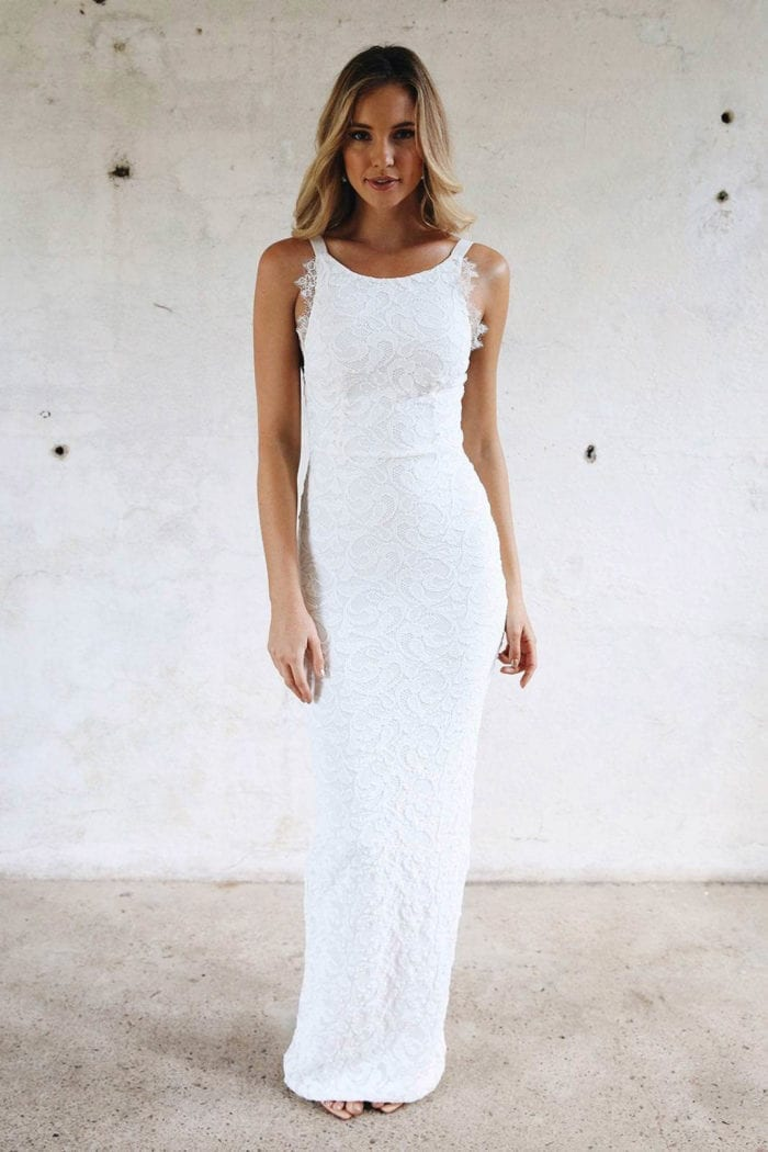 Blonde bride wearing Grace Loves Lace Nia 2.0 Gown