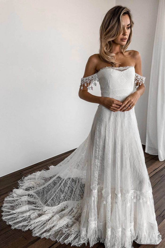 Blonde bride wearing Grace Loves Lace Fabienne 2.0 Gown