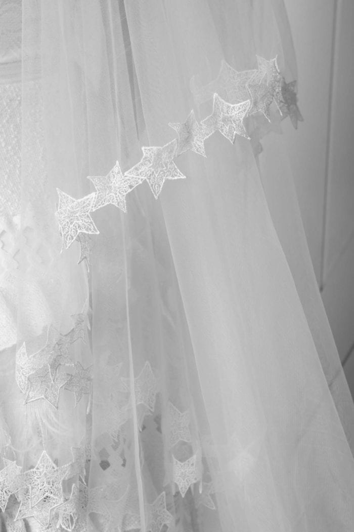 Close up of lace trim on Grace Loves Lace Elson Veil