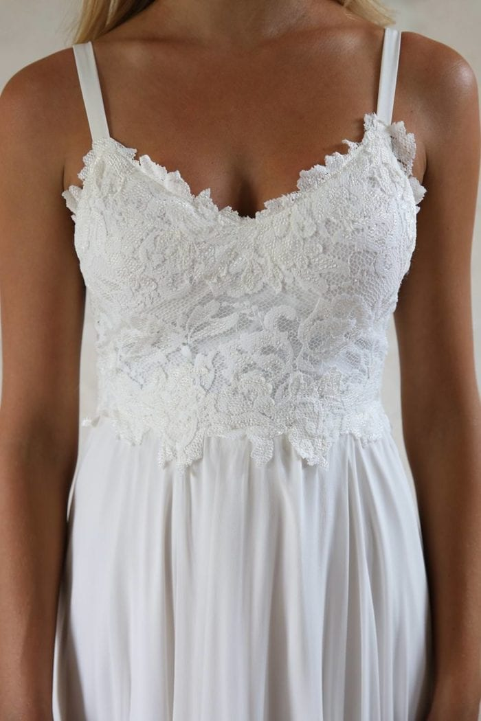 Close-up of bride wearing Grace Loves Lace Tara Gown