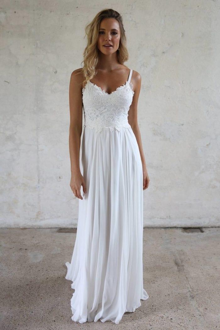Blonde bride wearing Grace Loves Lace Tara Gown