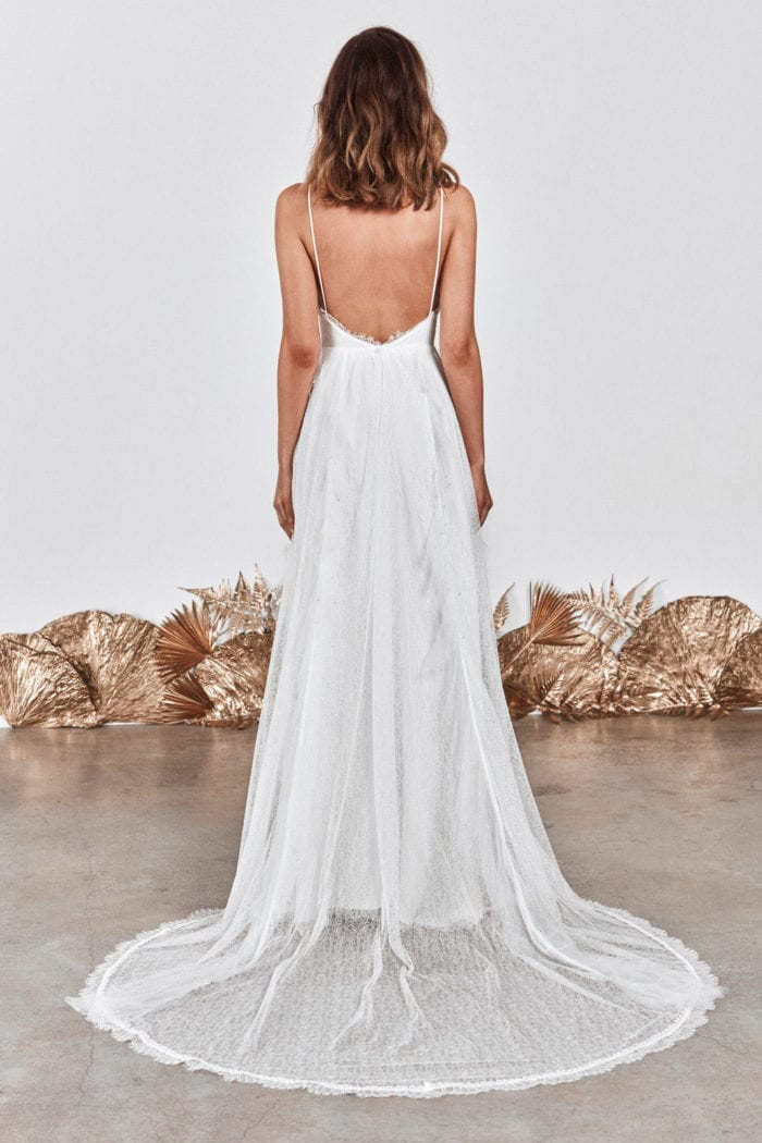 Back shot of bride wearing Grace Loves Lace Song Gown
