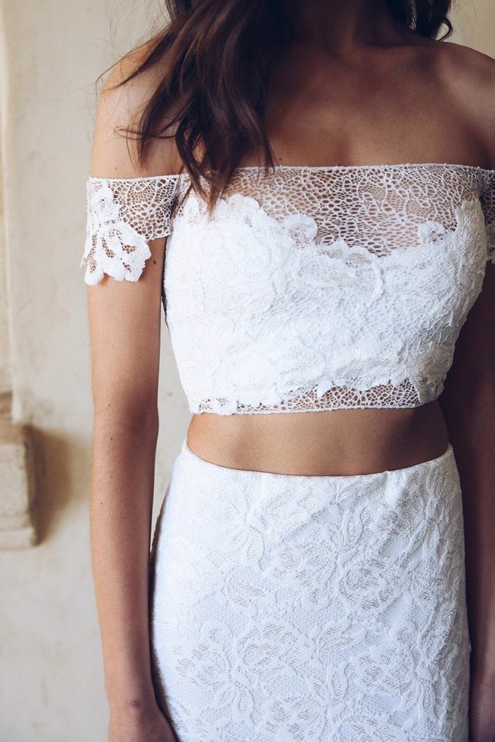 Close-up of bride wearing Grace Loves Lace Saffi Gown