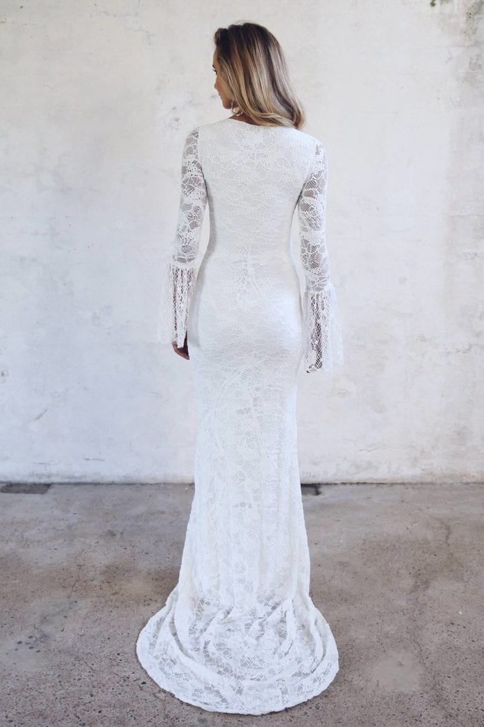 Back shot of blonde bride wearing Grace Loves Lace Piper Gown