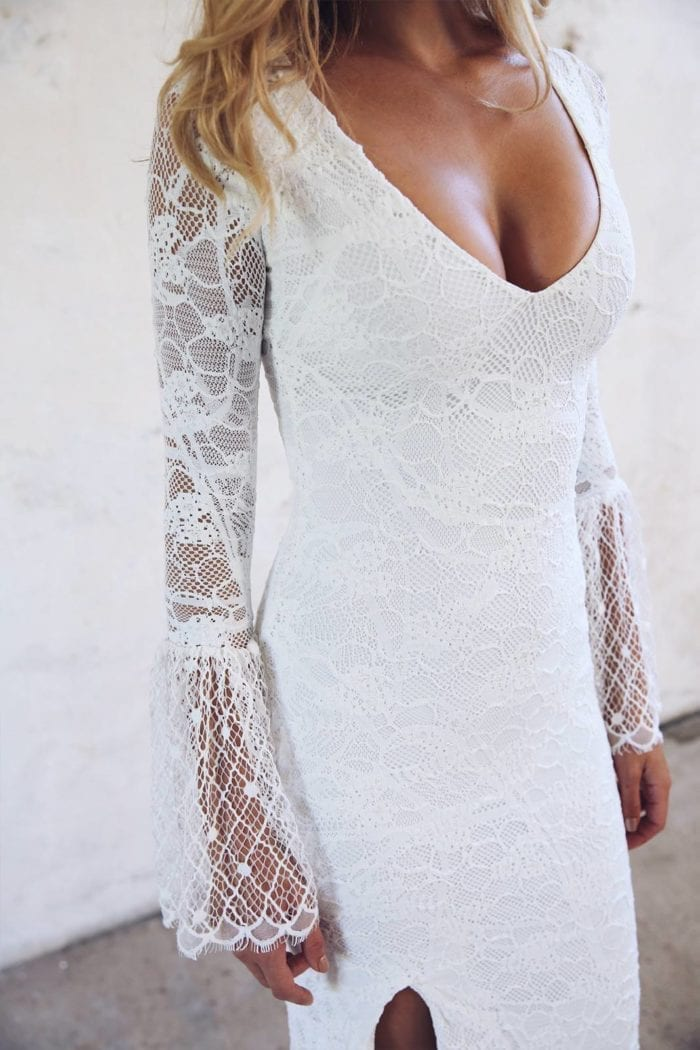 Close-up of bride wearing Grace Loves Lace Piper Gown