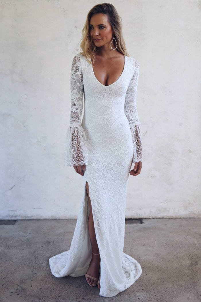 Blonde bride wearing Grace Loves Lace Piper Gown looking to the side