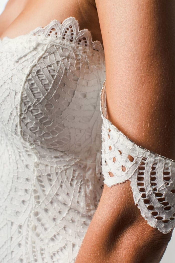 Close-up of bride wearing Grace Loves Lace Paloma Gown showing sleeves