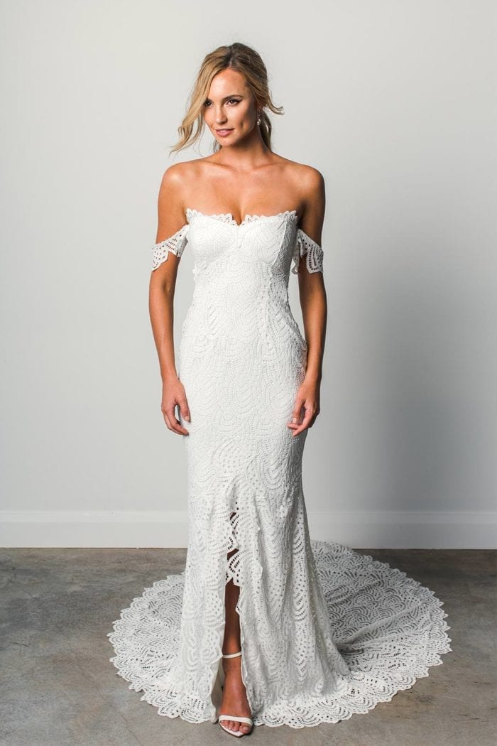 Blonde bride wearing Grace Loves Lace Paloma Gown