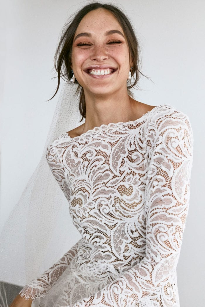 Bride wearing Grace Loves Lace Orla Gown smiling