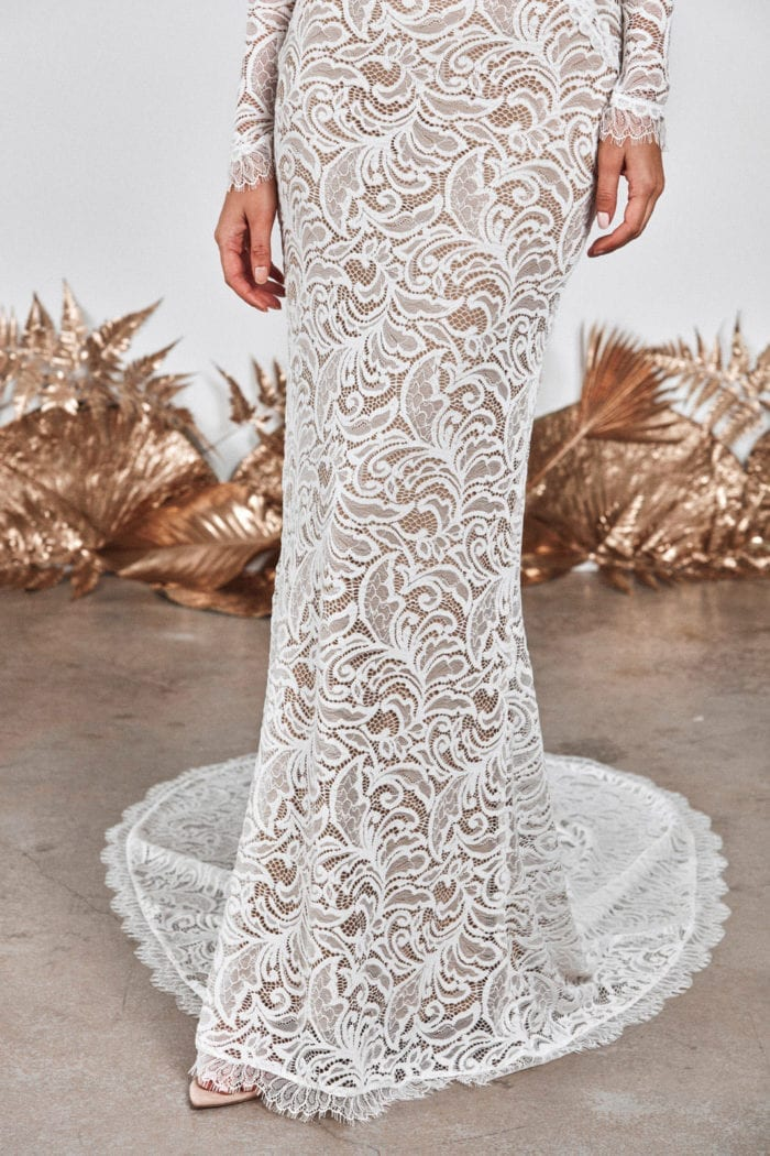 Close-up of Grace Loves Lace Orla Gown Skirt and Trim