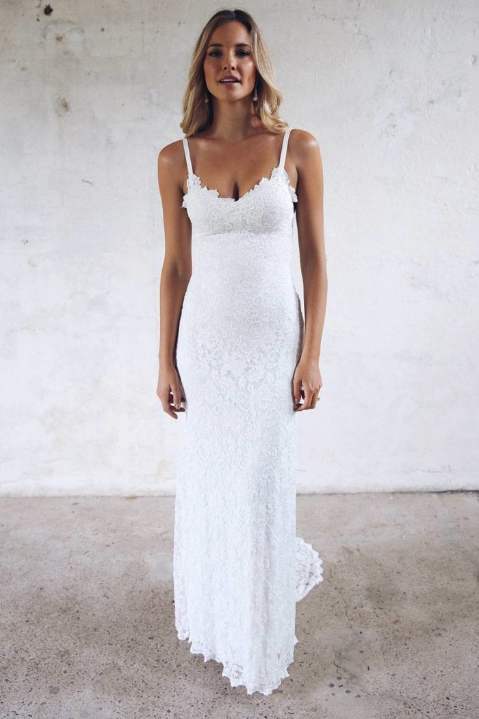 Blonde bride wearing Grace Loves Lace Mia Gown